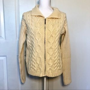 Made in Ireland Merino Wool Cable Knit Sweater